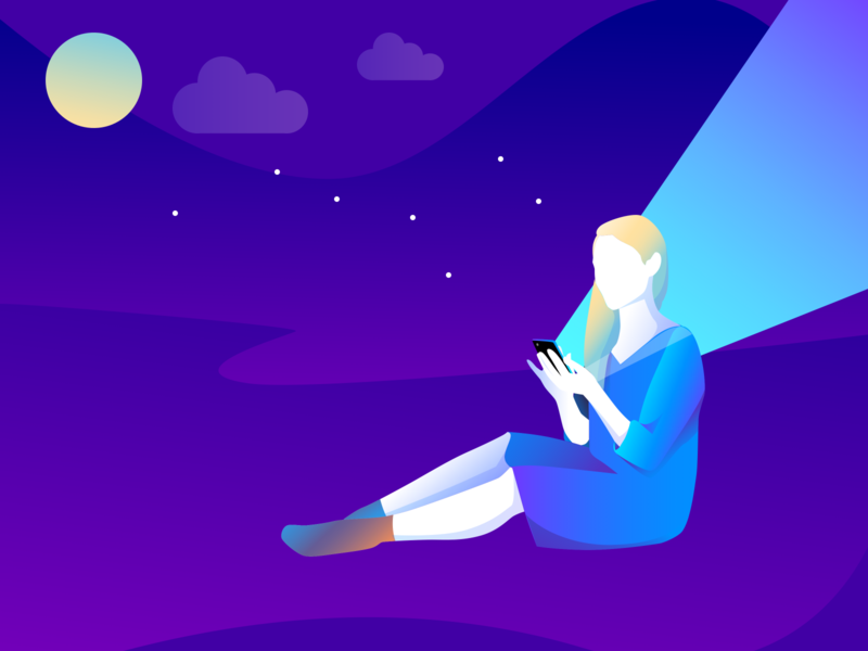 Girl Using Her Phone at Night single moon stars addicted mobilephone vector girl design illustration 2d illustration