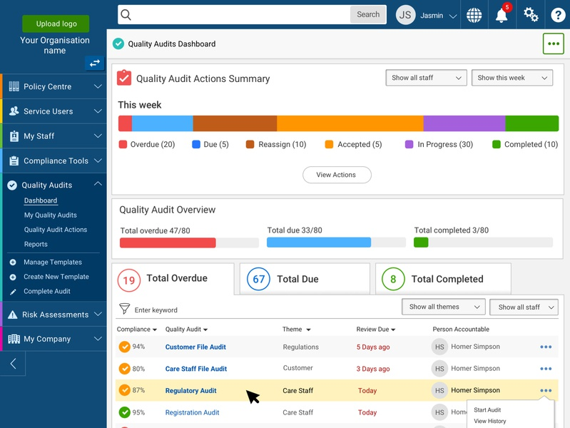 Managers Dashboard - Accessibility accessibility reports charts software dashboard software management system quality audit audit managers dashboard ui dashboard