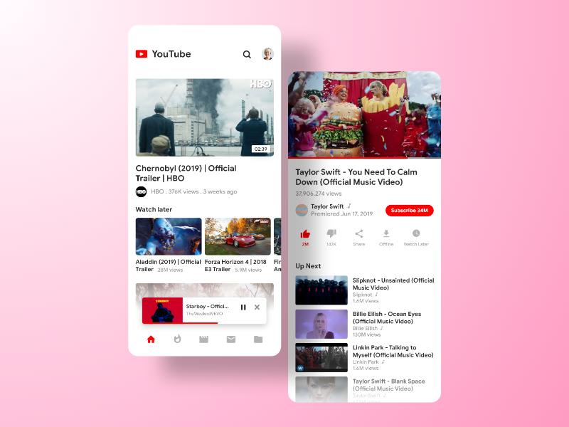 Youtube App Resedesign by Hari Prasad on Dribbble