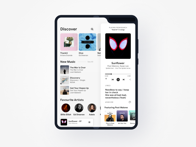Galaxy Fold appdesign appui app light spotify music ui fold galaxyfold adobexd