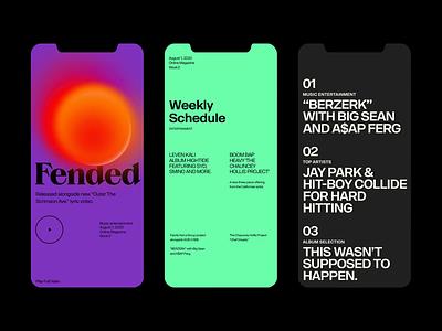 Fended'20 magazine color branding responsive design minimal website clean layout typography