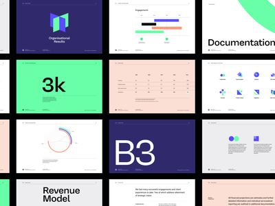 Creative agency collateral design green purple brand branding design collateral modern clean whitespace grid deck layout typography