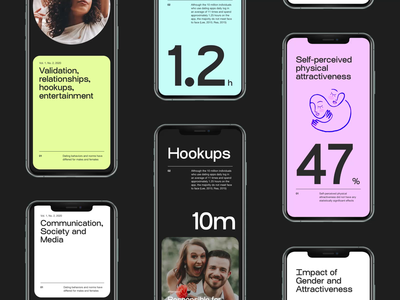 Dating app—Data and stats screens layout design color mobile ui branding mobile app mobile typography
