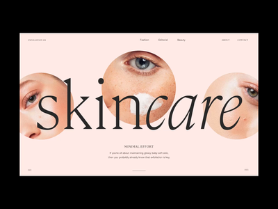 Skincare—Slider circle skincare header interactive animation slider layout typography