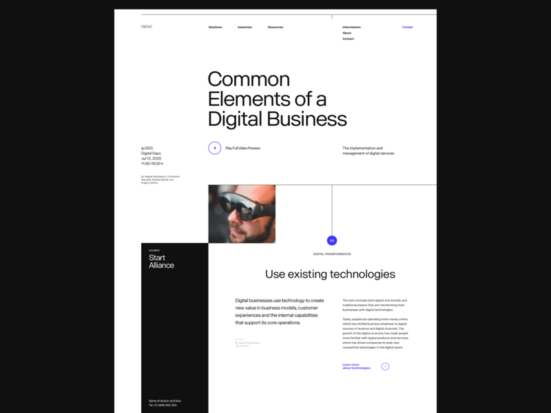 Common Elements of a Digital Business header web grid whitespace design website minimal clean layout typography