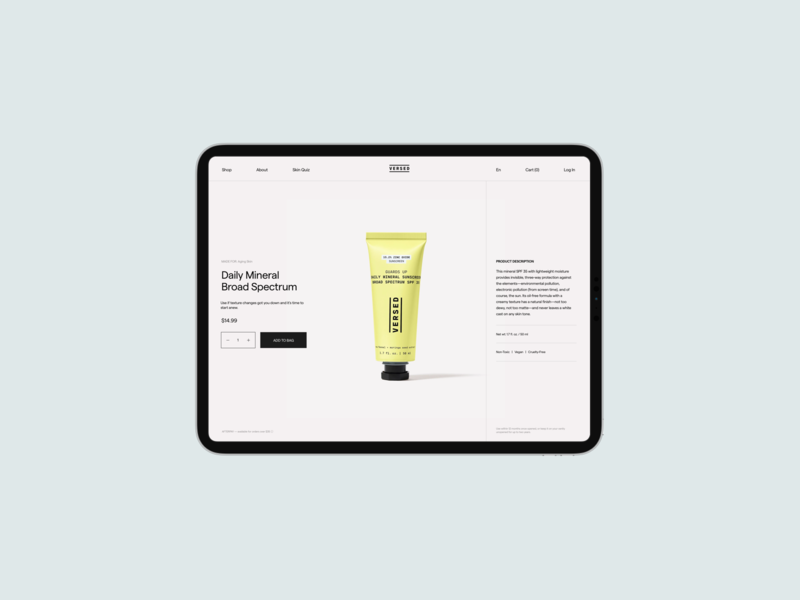 VERSED shop redesign product single page whitespace typography beauty product shop shopify website cosmetics cosmetic beauty