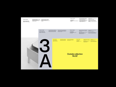 Outside Collection branding deck yellow grid whitespace website design minimal clean layout typography