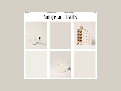 Farmhouse—Art Direction & Layouts header web grid whitespace website design minimal clean layout typography