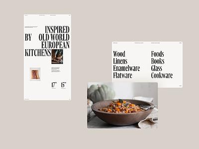 Farmhouse web header grid whitespace website design minimal clean layout typography