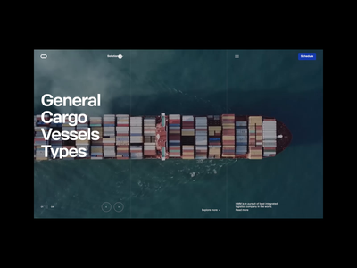 Cargo Logistics Website Navigation video background grid clean layout typography website design motion animation navigation website