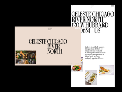 Celeste—Restaurant Page header web grid whitespace website design minimal clean layout typography