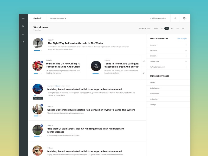 Mediatoolkit mediatoolkit app tool ux ui design clean grid typography dashboard news