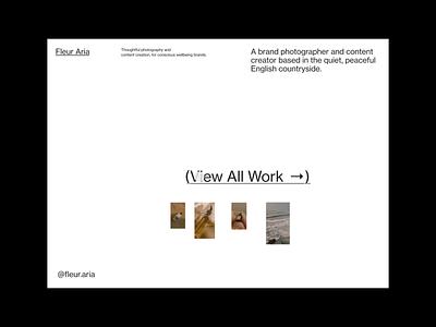 Fleur Aria Portfolio design header minimal grid whitespace layout typography website design motion animation interactive website