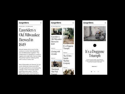 Easyriders†Responsive layouts serif responsive mobile whitespace design minimal clean layout typography