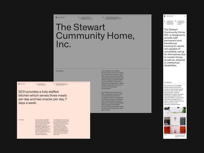 The Stewart Community Home grid whitespace website design minimal clean layout typography