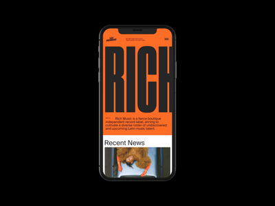 Rich Music—Mobile View music artists playlist events homepage bold orange interaction motion animation website layout typography