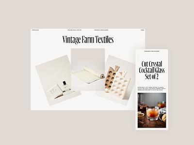 Farmhouse header web grid whitespace website design minimal clean layout typography