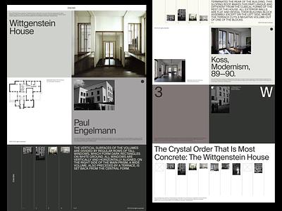 Wittgenstein—Art Direction Board color architecture grid whitespace website design minimal clean layout typography