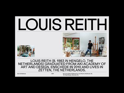 Louis Reith Bio grid whitespace design minimal clean layout website typography