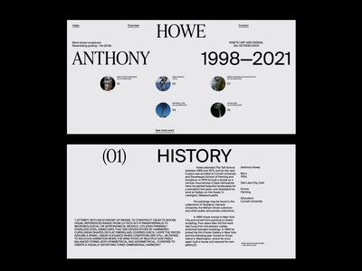 Anthony Howe whitespace website motion website motion animation clean layout typography