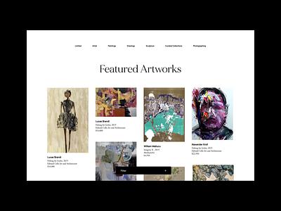 Art Platform—Artwork listing page website filter layout motion animation list artworks art platform typography