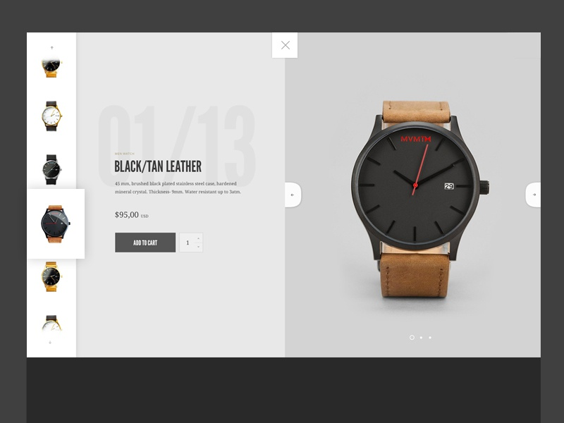 Watch preview navigation clean gallery ui watch website landing web design layout typography slider