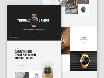 Watches Layout website design clean ui landing navigation slider minimal typography layout watch web