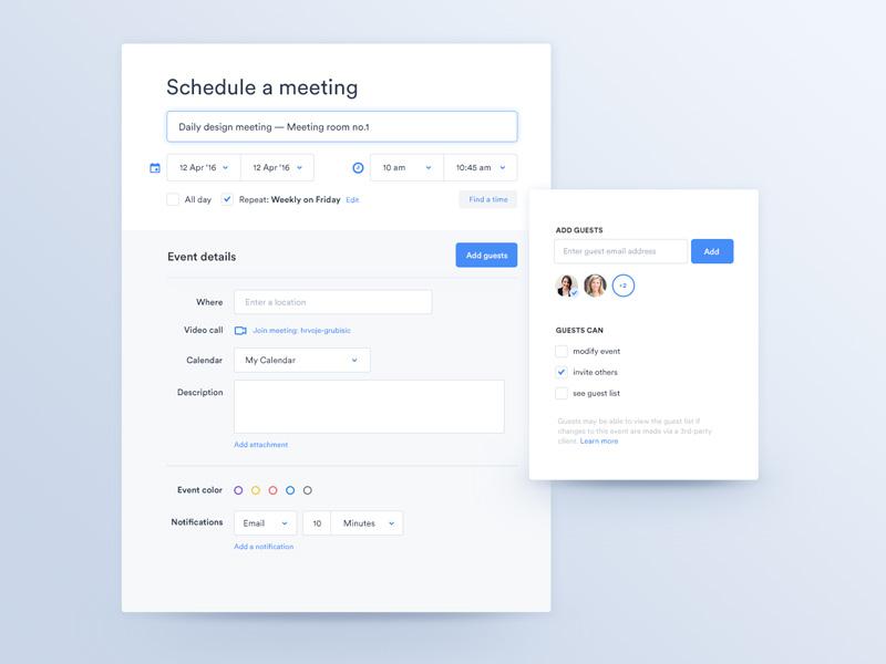 Schedule a meeting — App clean label light event date dropdown app ui ux meeting schedule calendar