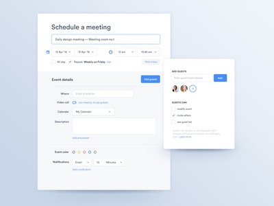 Schedule a meeting — App clean label light event date dropdown app ui ux meeting schedule calendar