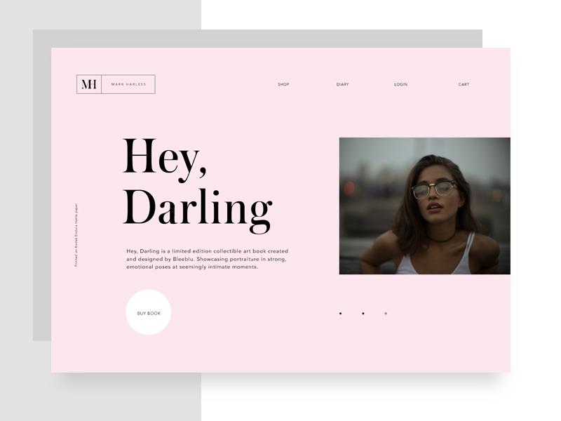 """Hey, Darling"" Landing Page slider web landing serif minimal type typo typography design layout photography fashion"