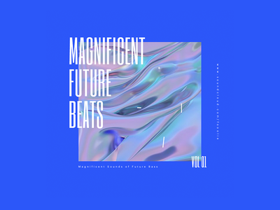 Magnificent Future Beats — Mix Cover simple minimal whitespace mix type typo layout typography condensed blue