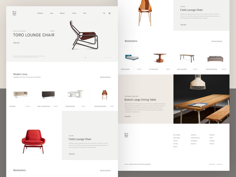 Blu Dot Website contemporary minimal modern layout grid typography clean minimalistic design furniture