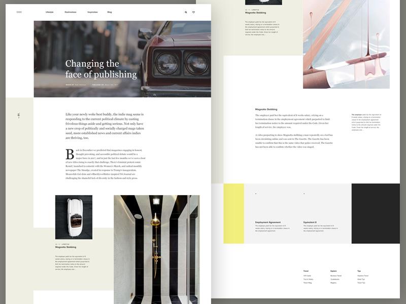 Magazine Blog Layout navigation grid minimal minimalist typo header serif clean typography blog layout