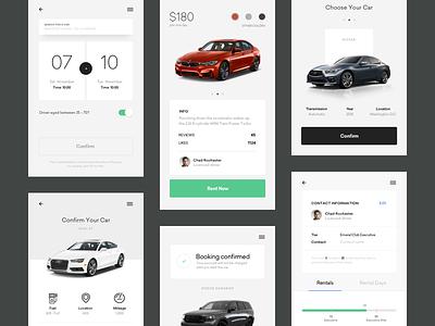 Car Rental Mobile App clean light calendar slider car dark green grey ui ux app mobile