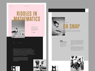 Skateboarding Magazine Layout website gold pink condensed header typo minimal simple typography layout magazine skateboarding