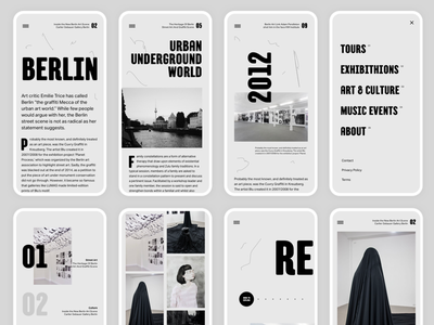 Urban Culture - Berlin clean gallery navigation type whitespace app berlin screen typography grey layout