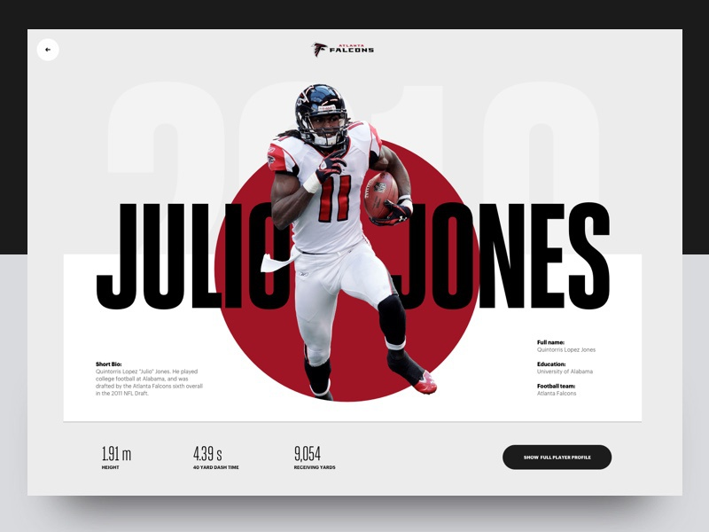 Julio Jones - Atlanta Falcons web falcons profile condensed header website typography sport
