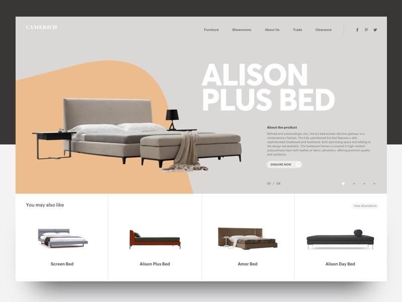 Ecommerce Furniture grid ux ui fullscreen light slider ecommerce typography layout modern header furniture