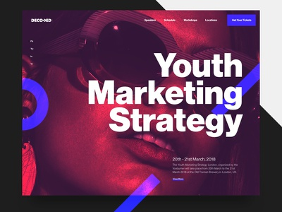 Youth Marketing Strategy Conference design artdirection contrast typography website web header conference