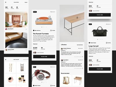 Bidding App mobileapp typography light whitespace simple slider bid bidding ui ux app mobile