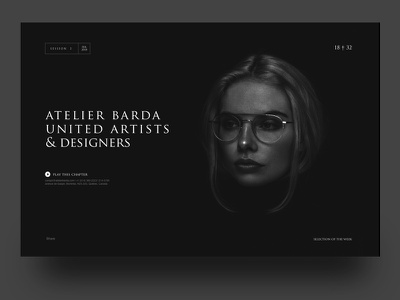 Atelier Barda Documentary player video play typo header dark typography black