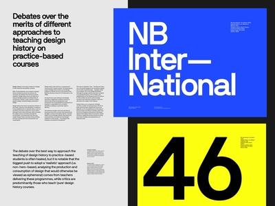 NB International yellow blue grid whitespace specimen display font layout type typo typography