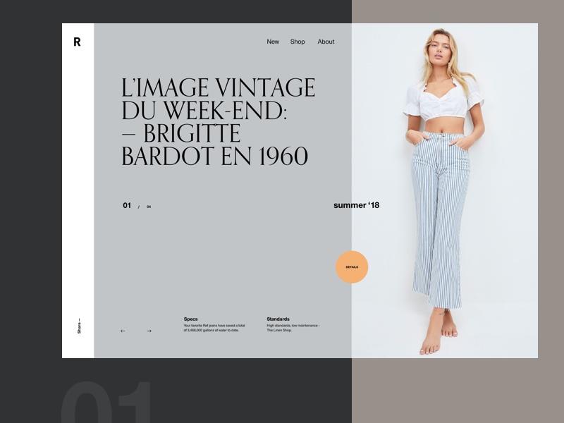 Header Slider Concept ecommerce webshop concept serif clean grid layout typography fashion slider header
