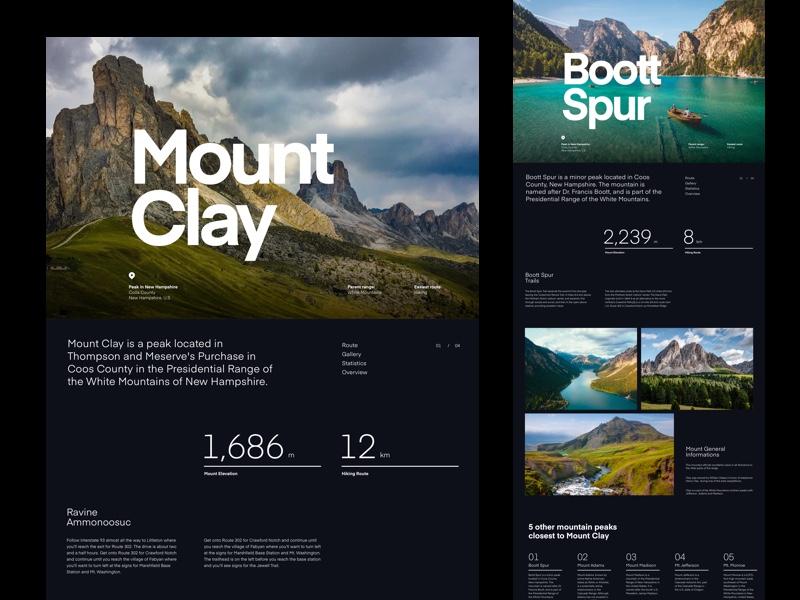 Mountain Hills Landing typo clean bold font grid website header layout typography