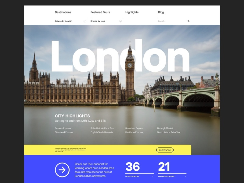 London City Guide web clean layout header london bold modern typography website city guide city
