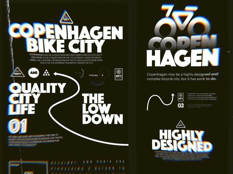 Copenhagen Bike City artdirection bold experimental dark black icon illustration design layout typography