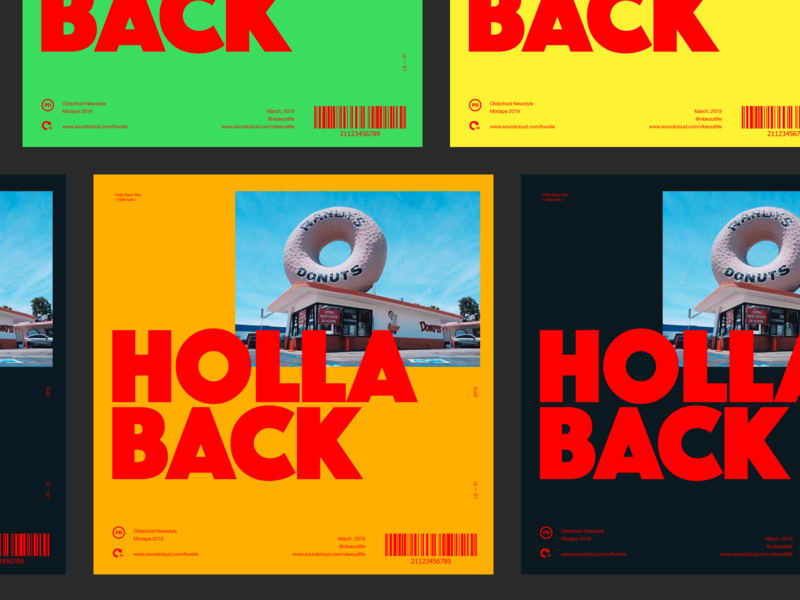 Holla Back typeface bold cover art mix soundcloud bigtype red color whitespace typo cover clean layout typography