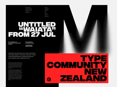 Type Community New Zealand whitespace grid logo branding design minimal branding and identity black  white red and black red brandin design graphic branding typography
