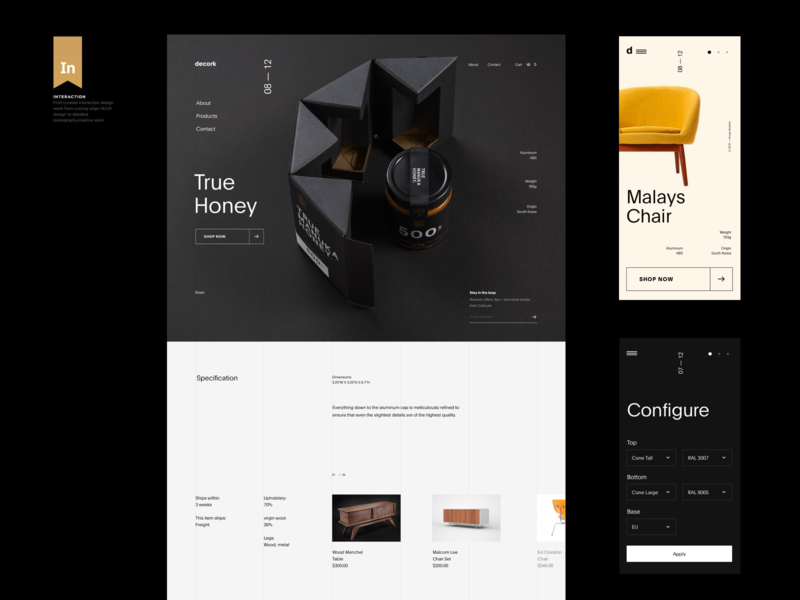 Decork branding black ux ui navigation typo modern simple whitespace header web grid design minimal website clean layout typography