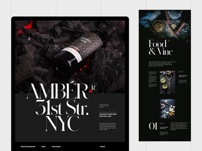 Amber Restaurant & Wine Bar black serif typo modern simple whitespace header web grid design minimal website clean layout typography